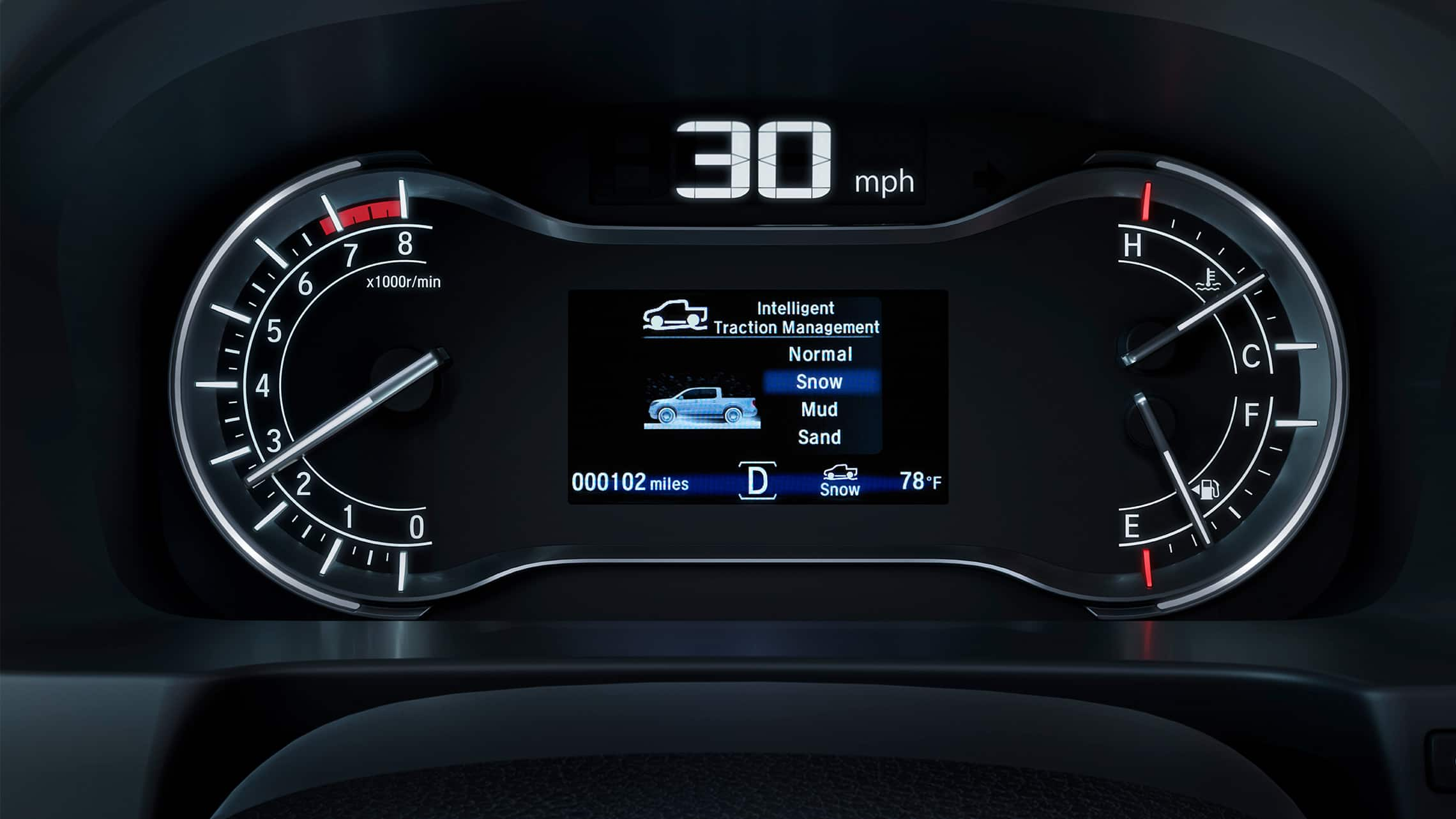 Intelligent Traction Management system display detail in the 2020 Honda Ridgeline RTL-E.